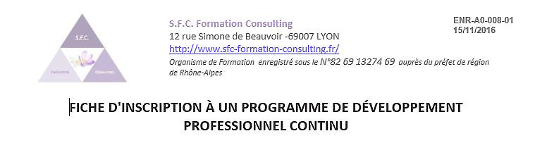 Fiche inscription aux formations SFC Formation Consulting